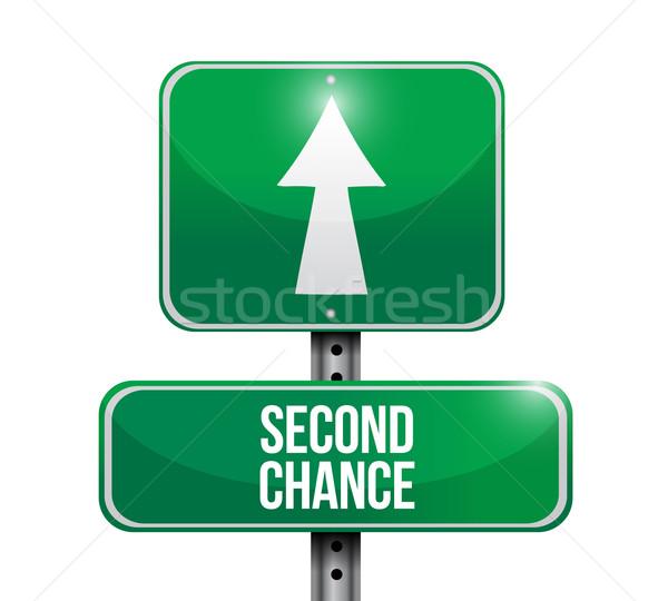 второй шанс дорожный знак иллюстрация дизайна белый Сток-фото © alexmillos