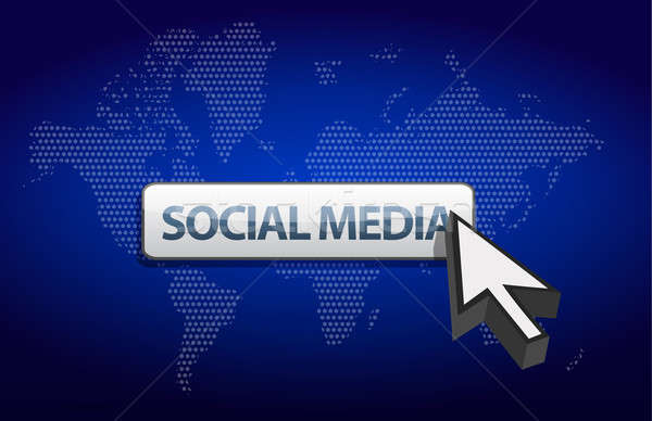 social media blue background with a map of the world Stock photo © alexmillos