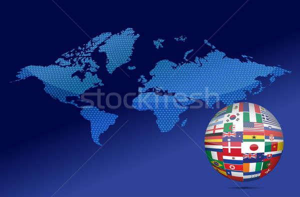 International communication concept. World flags on globe illust Stock photo © alexmillos