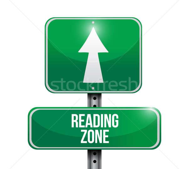reading zone road sign illustration design over a white backgrou Stock photo © alexmillos