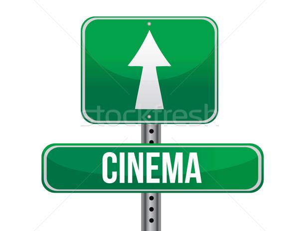 Cinema road sign illustration design over a white background Stock photo © alexmillos