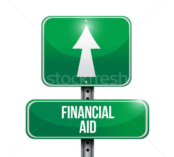 financial aid road sign illustration design over a white backgro Stock photo © alexmillos