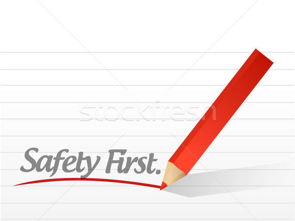 safety first written on a white piece of paper. illustration des Stock photo © alexmillos