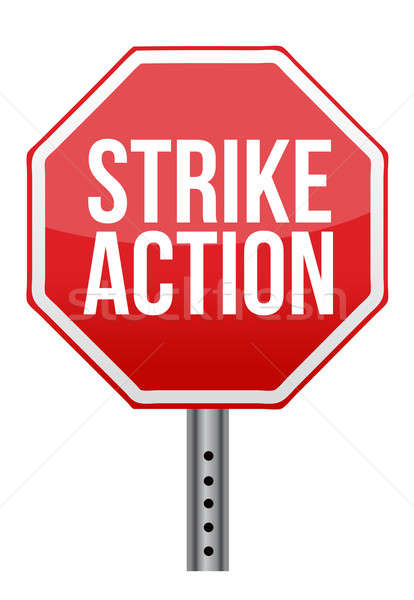 strike action illustration sign over white background Stock photo © alexmillos
