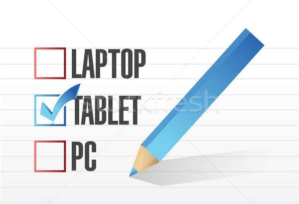 Tabletta csekk osztályzat illusztráció terv jegyzettömb Stock fotó © alexmillos