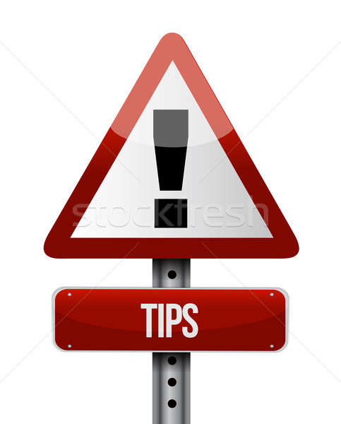 tips warning road sign illustration design over white Stock photo © alexmillos