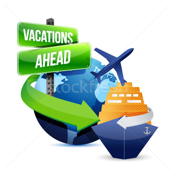 vacations ahead illustration design over a white background Stock photo © alexmillos