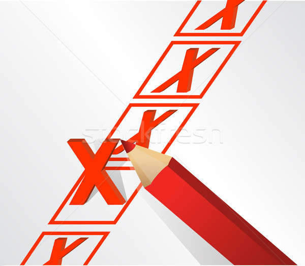 illustration design of x mark over white background Stock photo © alexmillos
