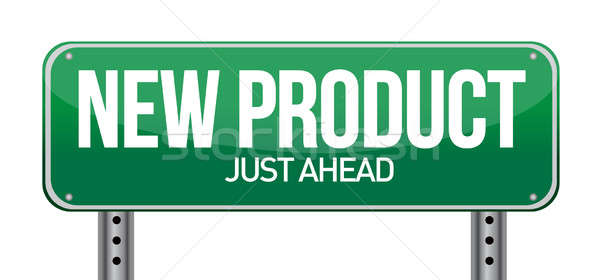 new product road sign illustration design over a white backgroun Stock photo © alexmillos