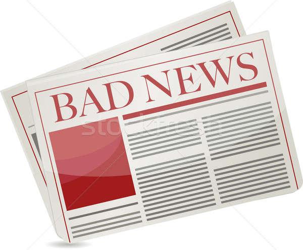 bad news newspaper illustration design over white background Stock photo © alexmillos