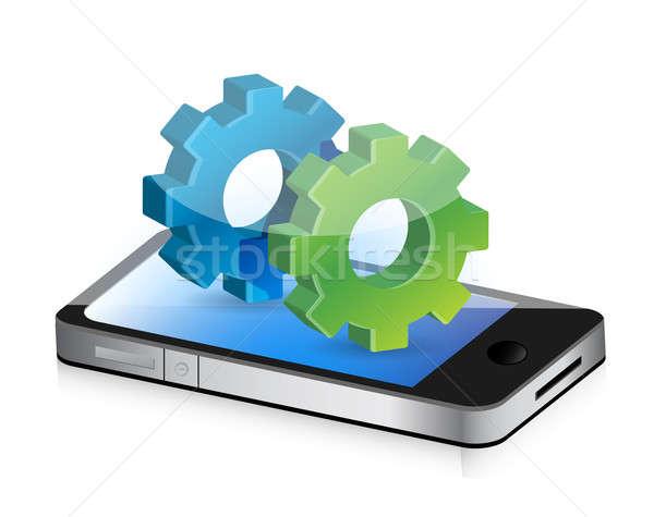 industrial gears smartphone illustration design concept graphic Stock photo © alexmillos