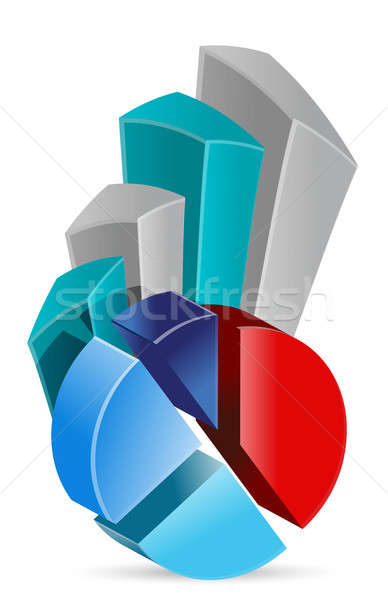 pie chart Business graph illustration design over a white backgr Stock photo © alexmillos