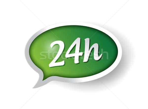 24 hour support message bubble illustration design over white Stock photo © alexmillos