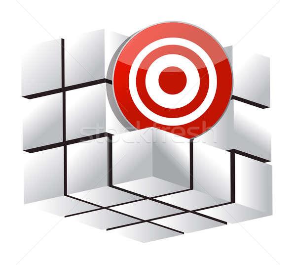 3D target kubus teken informatie Zoek Stockfoto © alexmillos
