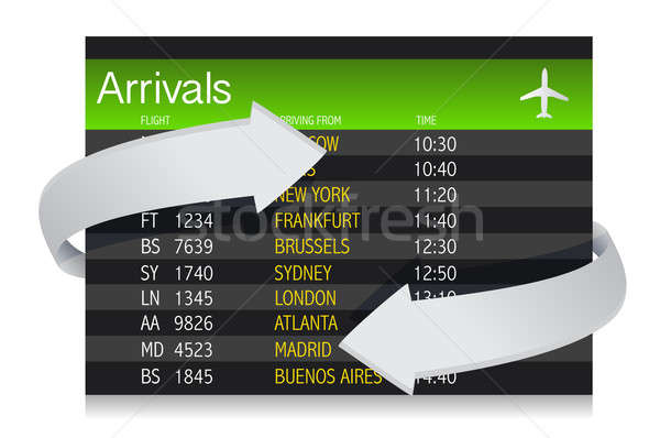 Airport Arrivals Board with arrows showing constant changes illu Stock photo © alexmillos