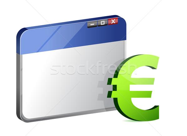 Valuta szimbólum böngésző pénz internet munka Stock fotó © alexmillos