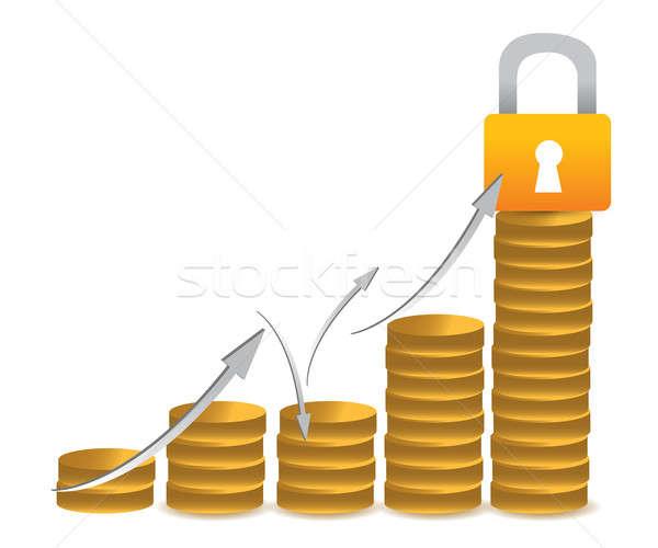 ビジネス コイン 保護された ロック グラフ 実例 ストックフォト © alexmillos