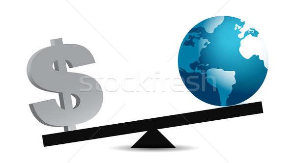 Geld wereld evenwicht business aarde dollar Stockfoto © alexmillos