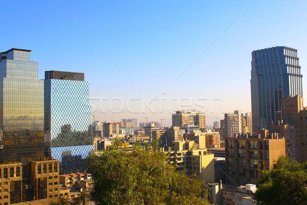 Sziluett kilátás Santiago Chile pénzügyi negyed város Stock fotó © alexmillos