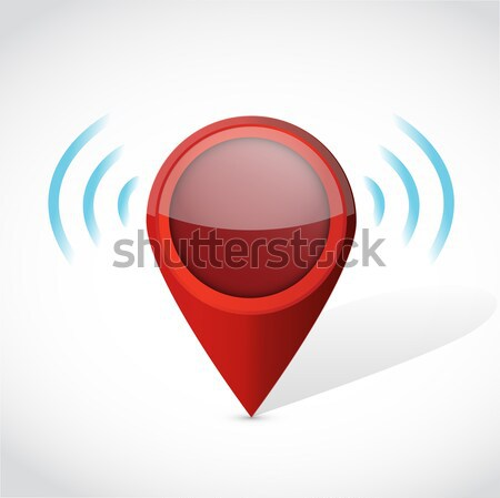 Stock photo: Hand holding a wifi pin pointer sign