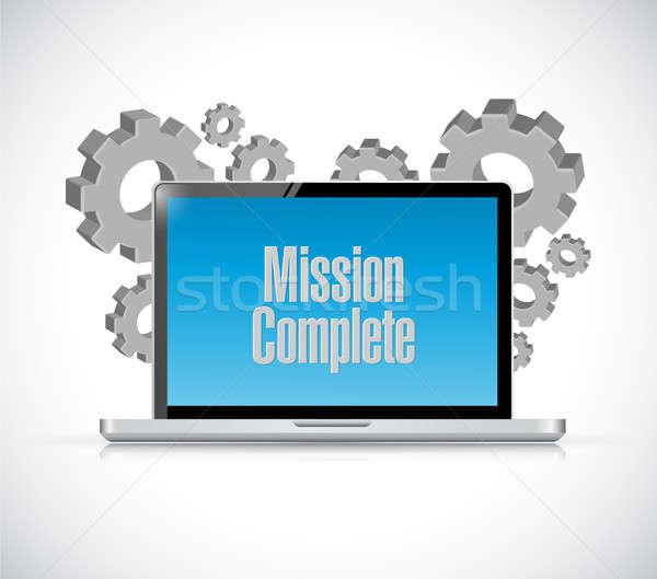 Missie compleet computer teken illustratie ontwerp Stockfoto © alexmillos