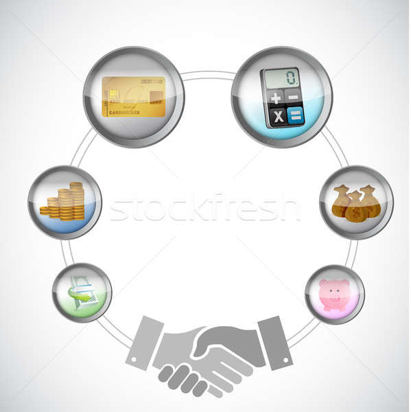 Affaires accord handshake cycle illustration design Photo stock © alexmillos
