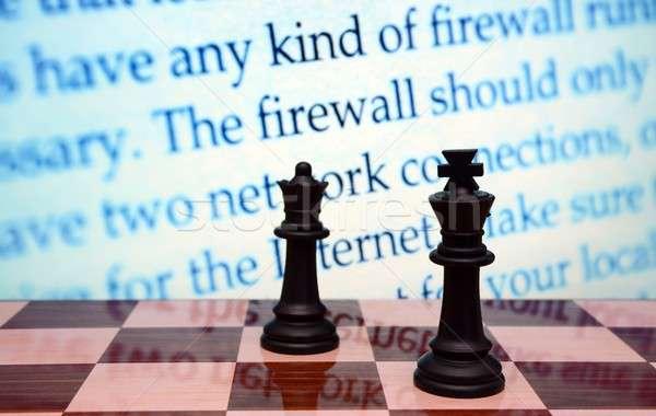 Firewall technologie toetsenbord netwerk web schaken Stockfoto © alexskopje