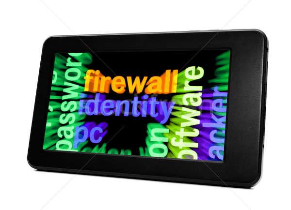 Güvenlik duvarı kimlik bilgisayar telefon web anahtar Stok fotoğraf © alexskopje