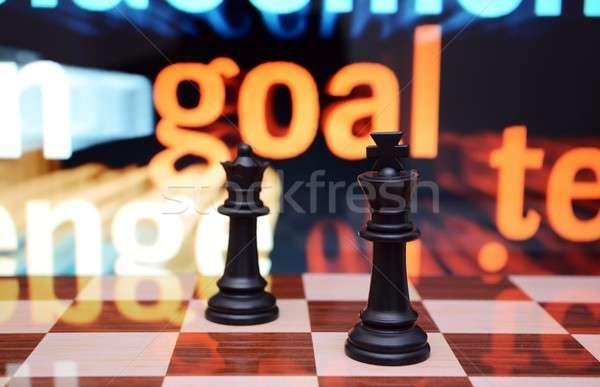 цель бизнеса древесины шахматам черный будущем Сток-фото © alexskopje
