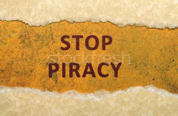 Stop kalózkodás háttér felirat háló koponya Stock fotó © alexskopje
