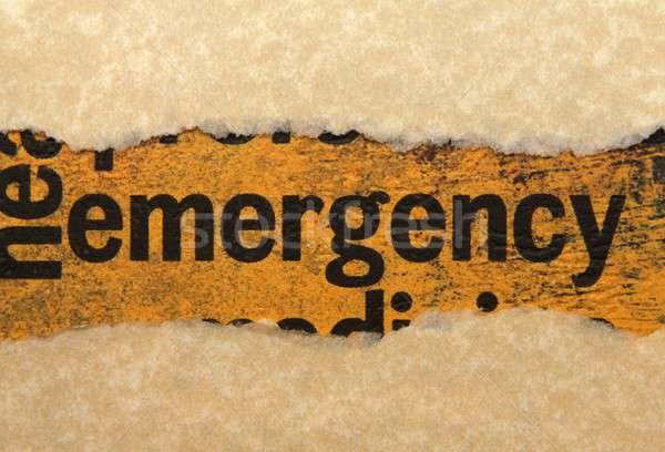 чрезвычайных рваной бумаги огня знак запустить безопасности Сток-фото © alexskopje