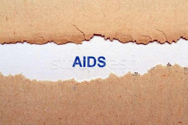 AIDS szöveg szakadt papír egészség háló segítség Stock fotó © alexskopje