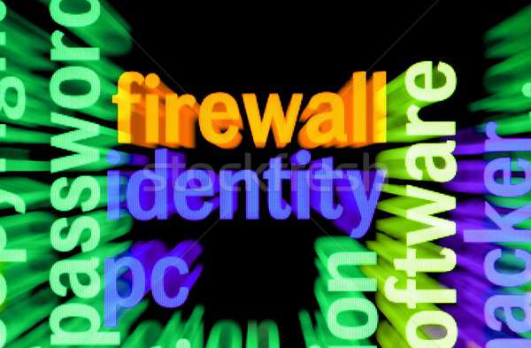 Firewall identiteit technologie toetsenbord achtergrond veiligheid Stockfoto © alexskopje