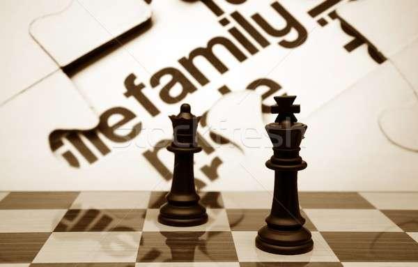 семьи шахматам дизайна стекла матери черный Сток-фото © alexskopje