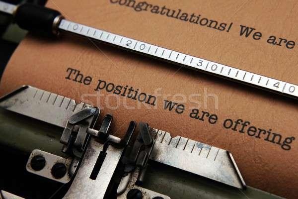 предлагающий бизнеса образование письме черный машинку Сток-фото © alexskopje