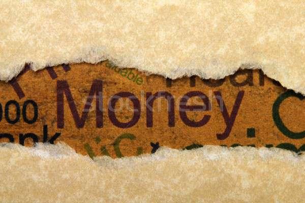 Para iş imzalamak mavi banka pazar Stok fotoğraf © alexskopje