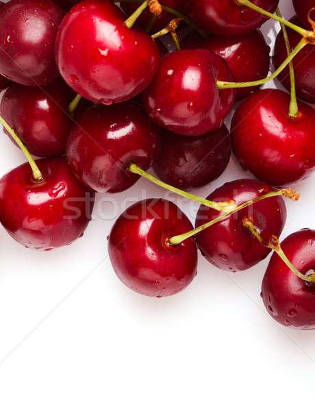 Cerejas branco comida esportes prato padrão Foto stock © Alexstar