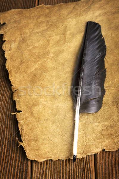 Papel rolar fundo quadro espaço pena Foto stock © Alexstar
