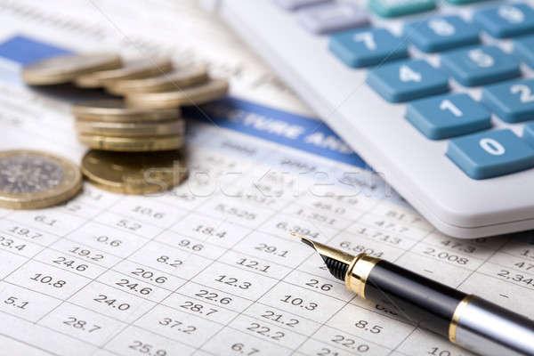 Iş rapor kalem finanse pazar başarı Stok fotoğraf © Alexstar