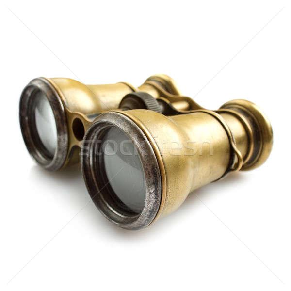 Binóculo velho branco vidro lente telescópio Foto stock © Alexstar