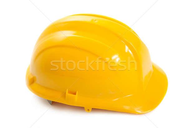Citromsárga védősisak fehér ipar munkás ipari Stock fotó © Alexstar