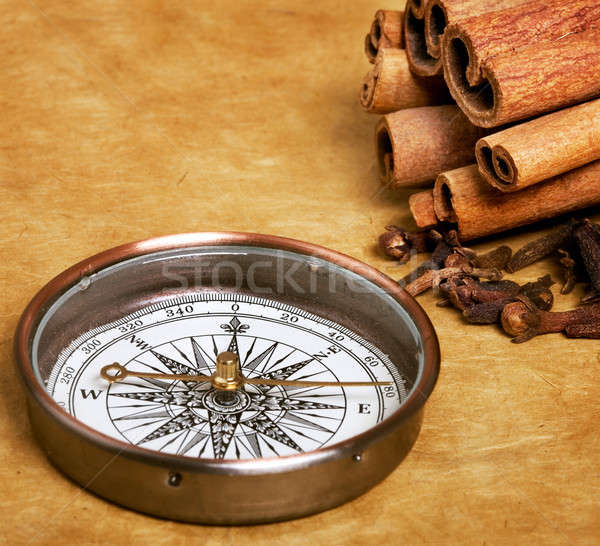 Iránytű fűszer pergamen csokoládé édes tárgyak Stock fotó © Alexstar