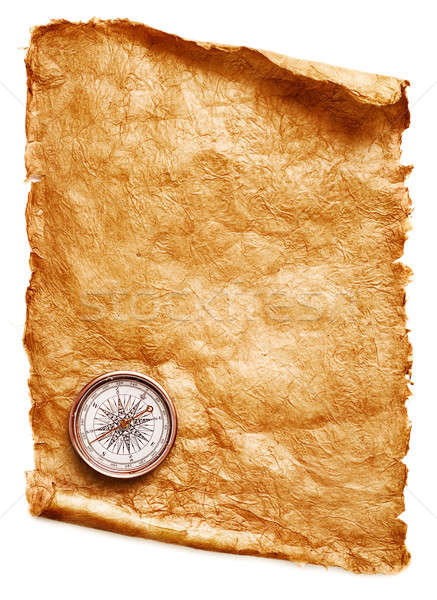 Paper scroll and compass Stock photo © Alexstar