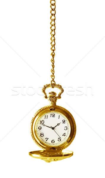 Relógio de bolso cadeia cara relógio trabalhando ver Foto stock © Alexstar