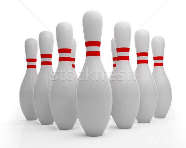 Bowling tő fehér háttér sportok piros Stock fotó © Alexstar