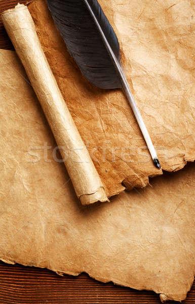Stift Jahrgang Papier blättern Rahmen Raum Stock foto © Alexstar