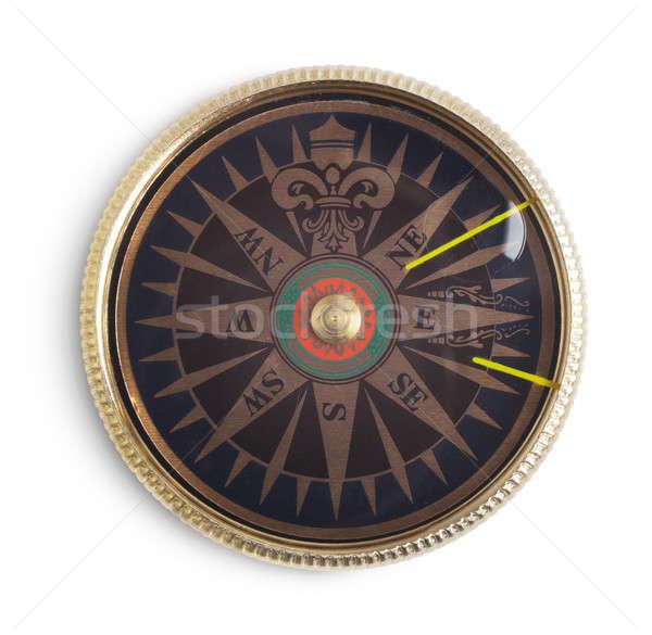 компас старомодный белый ретро антикварная объект Сток-фото © Alexstar