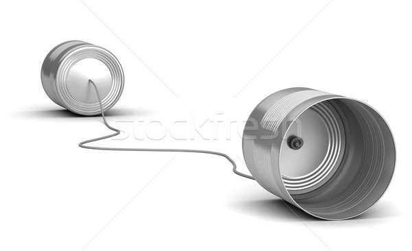 Kettő telefon technológia beszéd hang konzerv Stock fotó © Alexstar