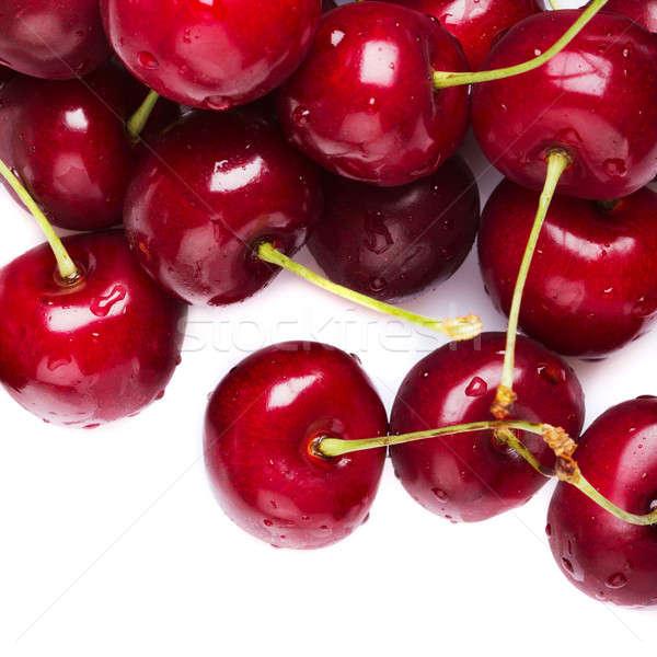 Cereja vermelho cerejas branco água comida Foto stock © Alexstar