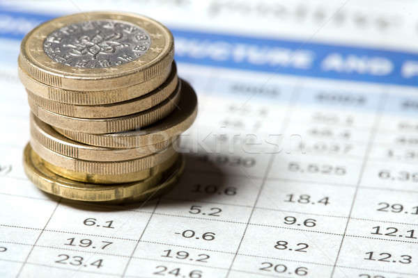 érmék újság kék piac Euro pénz Stock fotó © Alexstar